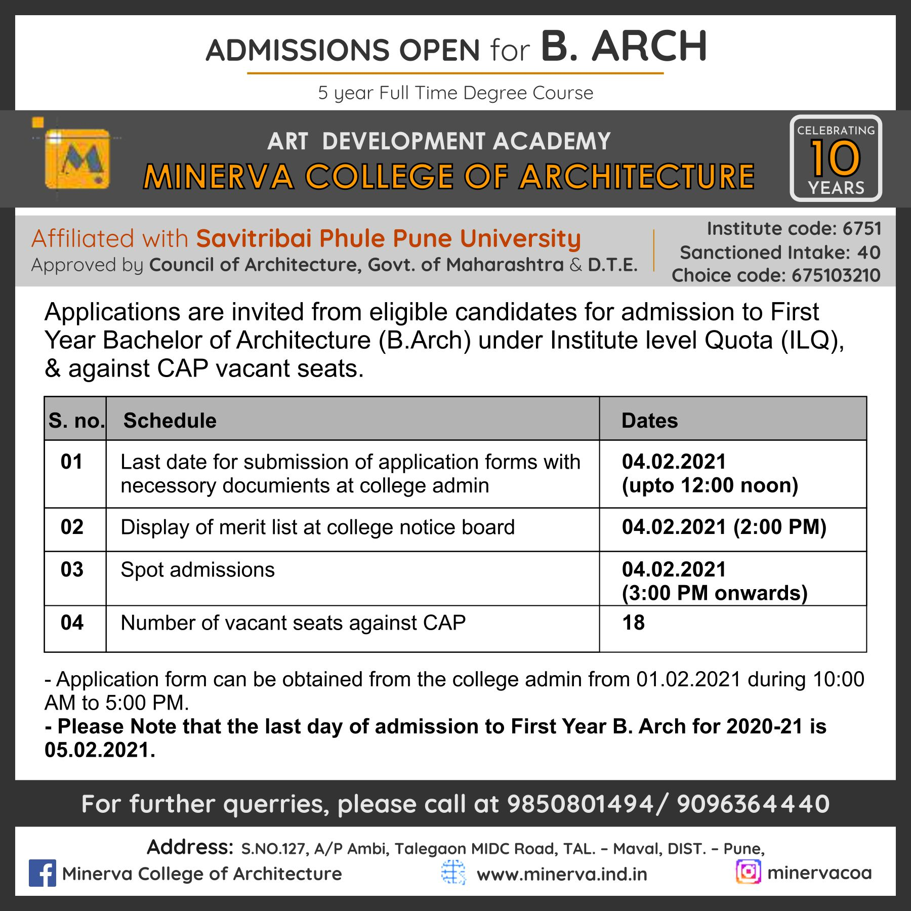 MCOA Admissions Open